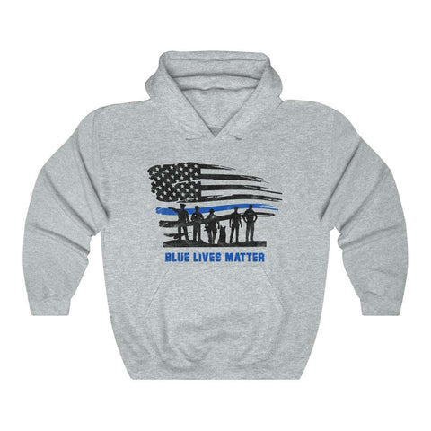 Image of Blue Lives Matter with American Flag Hoodie