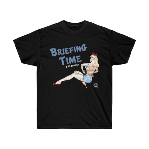Image of Briefing Time - Retro WWII Airplane Nose Art T-Shirt