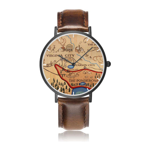 Image of The Ponderosa Map Leather Watch