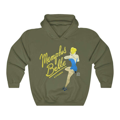 Image of Memphis Belle -  Retro WWII B-17 Bomber Airplane Nose Art Hoodie