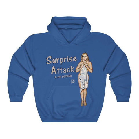 Image of Surprise Attack - Retro WWII B-24 Bomber Airplane Nose Art Hoodie