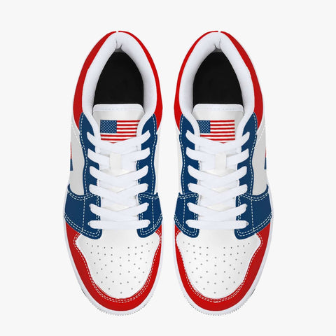 Image of The American Patriotic USA Flag Leather Sneakers