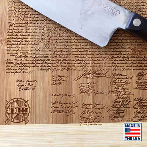 Image of Declaration of Independence Laser Engraved Real Bamboo Wood Cutting Board - MADE IN THE USA! Great Gift Idea!