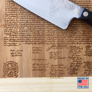 Declaration of Independence Laser Engraved Real Bamboo Wood Cutting Board - MADE IN THE USA! Great Gift Idea!