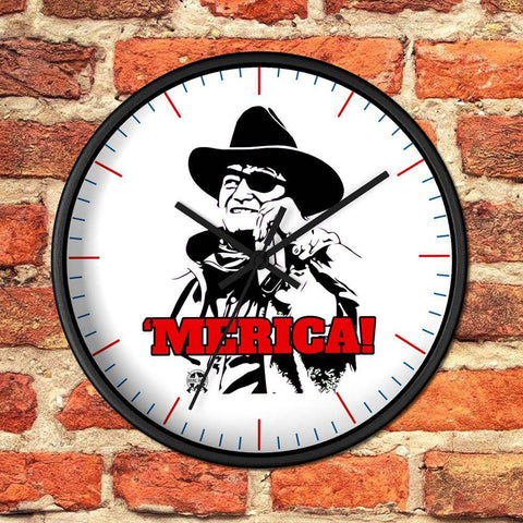Image of Merica John Wayne Drink - Whiskey Wall clock
