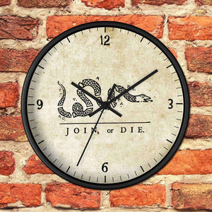 Join or Die Wooden Wall clock