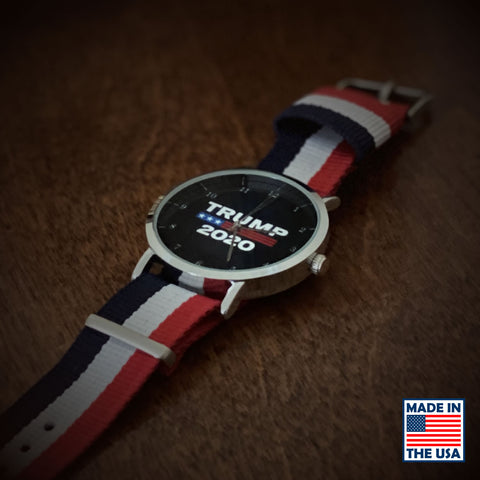 Image of Trump 2020 Red, White, & Blue Patriotic Watch w/Nylon Strap