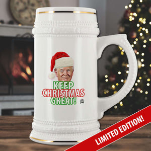 "Limited Edition: Trump Santa ""Keep Christmas Great!"" Collectors Beer Stein 🎅🏼🎄"