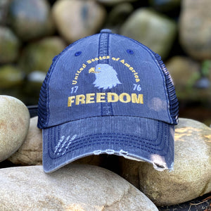 FREEDOM - USA 1776 Distressed Style Hat