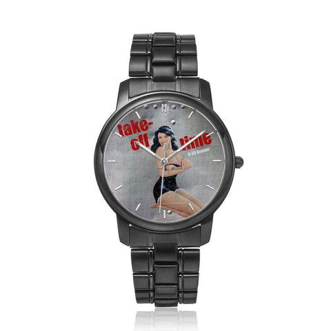 Image of Take-Off Time - Retro WWII B-25 Airplane Pinup Nose Art Watch