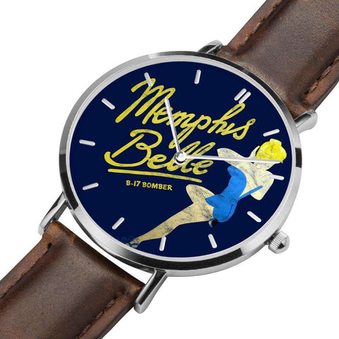 Image of Memphis Belle - Retro WWII B-17 Bomber Pinup Nose Art Watch