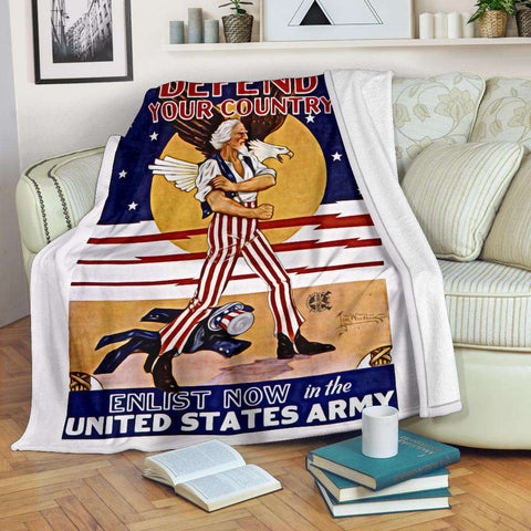 Image of Defend Your Country Vintage Micro Fleece Blanket