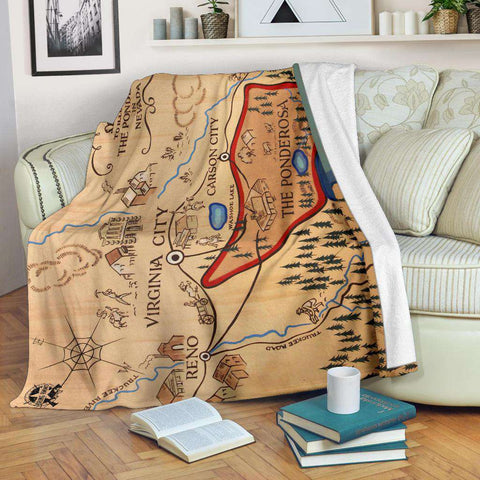 Image of Ponderosa Map from Bonanza Fleece Blanket