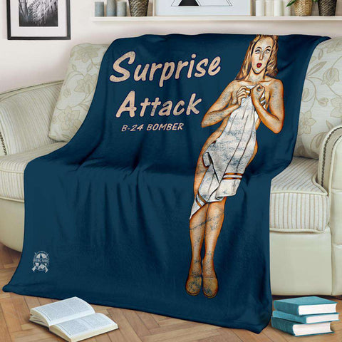 Image of Surprise Attack - Retro WWII B-24 Bomber Airplane Pinup Nose Art Micro Fleece Blanket