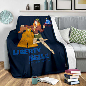 Liberty Belle - Retro WWII B-17 Bomber Pinup Nose Art Micro Fleece Blanket