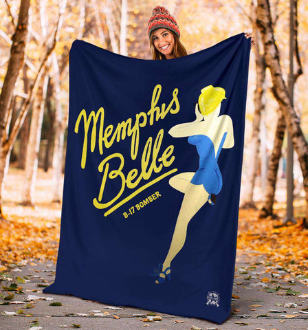Image of Memphis Belle - Retro WWII B-17 Bomber Pinup Nose Art Micro Fleece Blanket