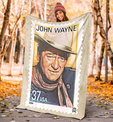 Image of Vintage John Wayne Stamp Ultra Soft Micro Fleece Blanket