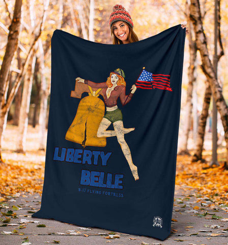 Image of Liberty Belle - Retro WWII B-17 Bomber Pinup Nose Art Micro Fleece Blanket