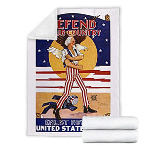 Defend Your Country Vintage Micro Fleece Blanket