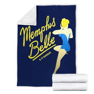Memphis Belle - Retro WWII B-17 Bomber Pinup Nose Art Micro Fleece Blanket