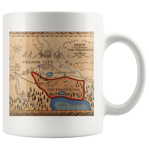 Image of The Ponderosa Map from Bonanza Mug