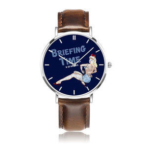 Briefing Time - Retro WWII B-25 Bomber Pinup Nose Art Watch