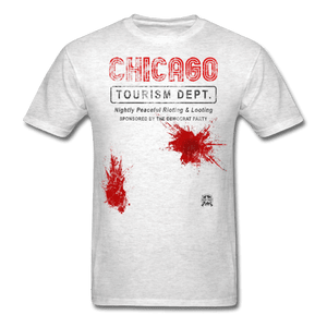 Chicago Tourism Dept. Nightly Peaceful Rioting & Looting. Sponsored by the Democrat Party T Shirt - light heather gray