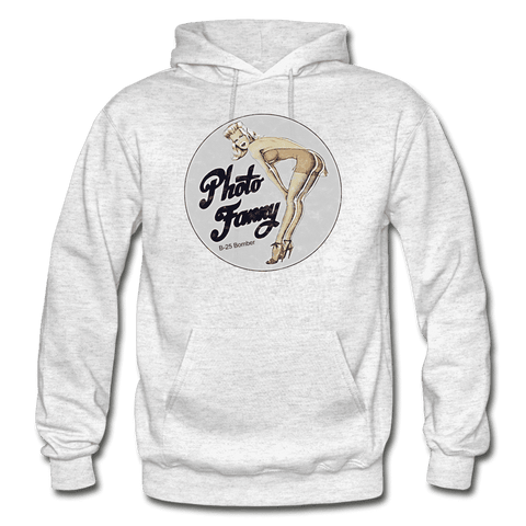 Image of Photo Fanny - Retro WWII Airplane Nose Art Hoodie - light heather gray