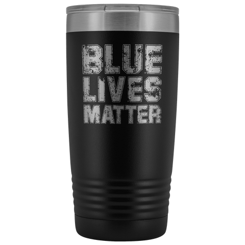 Image of Blue Lives Matter Stainless Etched Tumbler