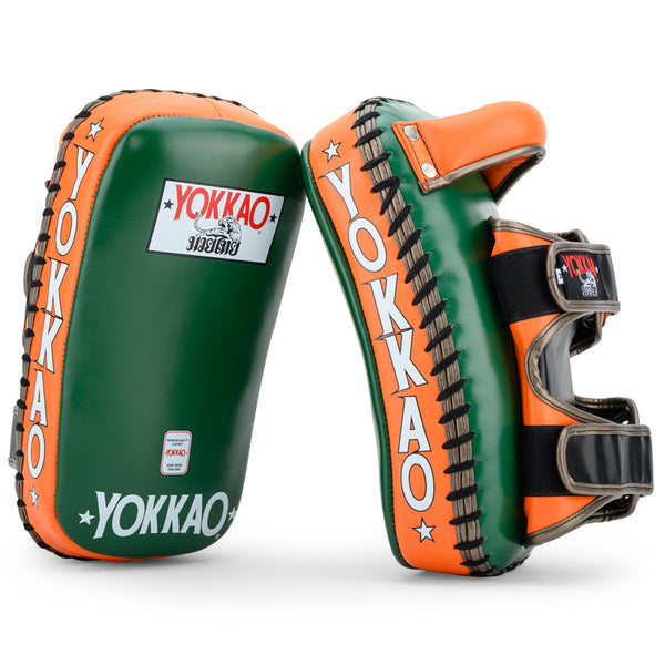 Curved Kicking Pads Eden Green/Orange Tiger