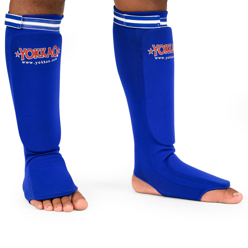 Yokkao Muay Thai Boxing Shin Guards Blue Cotton