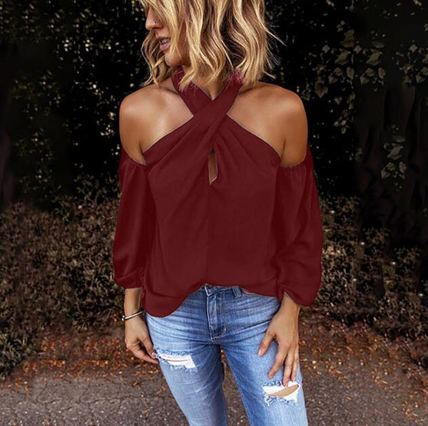Fashion Solid Color Halter Neck Strapless T-Shirt Casual - SmallTown Shop