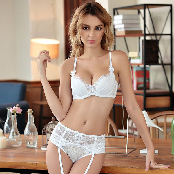 Femal Intimates Lingerie Set Gather Adjustable Underwear Women Lace Bra Set Push Up Bra And Panty ABC Cup Bra Briefs