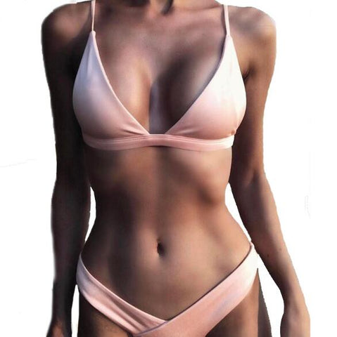 2020 Solid Bikini Set Women Swimsuit Female Swimwear Bikinis - SmallTown Shop