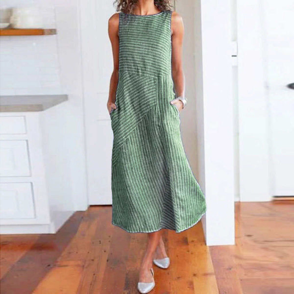 Casual Maxi Dress Sleeveless Linen Women Long Summer Dress Striped Cotton Baggy - SmallTown Shop