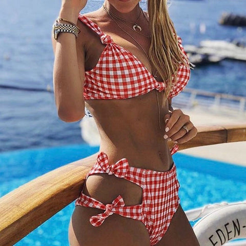 Sexy High waist Grid Dot Bikini set Swimwear women bow knot - SmallTown Shop