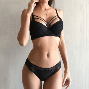 Classic Bandage Black Bra Set Push Up Brassiere Thick Cotton Underwear Set Sexy Bras