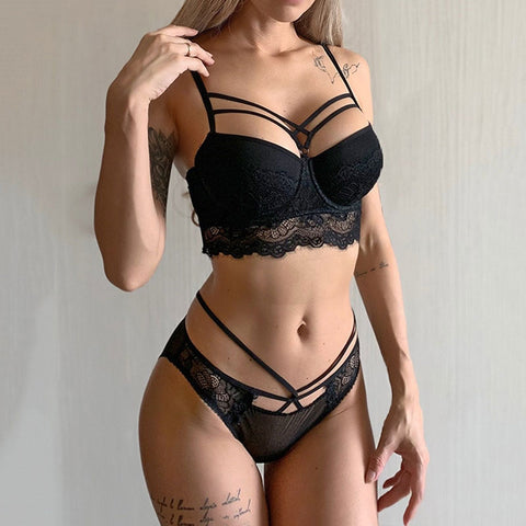 Sexy Bra Set Push Up Brassiere Bandage Black Embroidery Lingerie Sets Women Thick Gather Underwear Set Cotton Bras Lace
