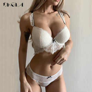 New White Sexy Bra Panties Set Lace Brassiere Deep V Push Up Bras Women Underwear Set Cotton Thick Black Lingerie Set