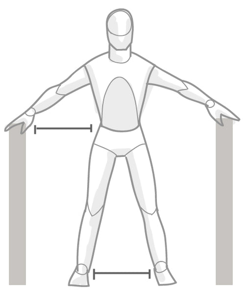 Stand with your feet a hips width apart and your arms wide out at hip height