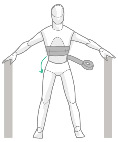 Begin taping around the stomach and chest