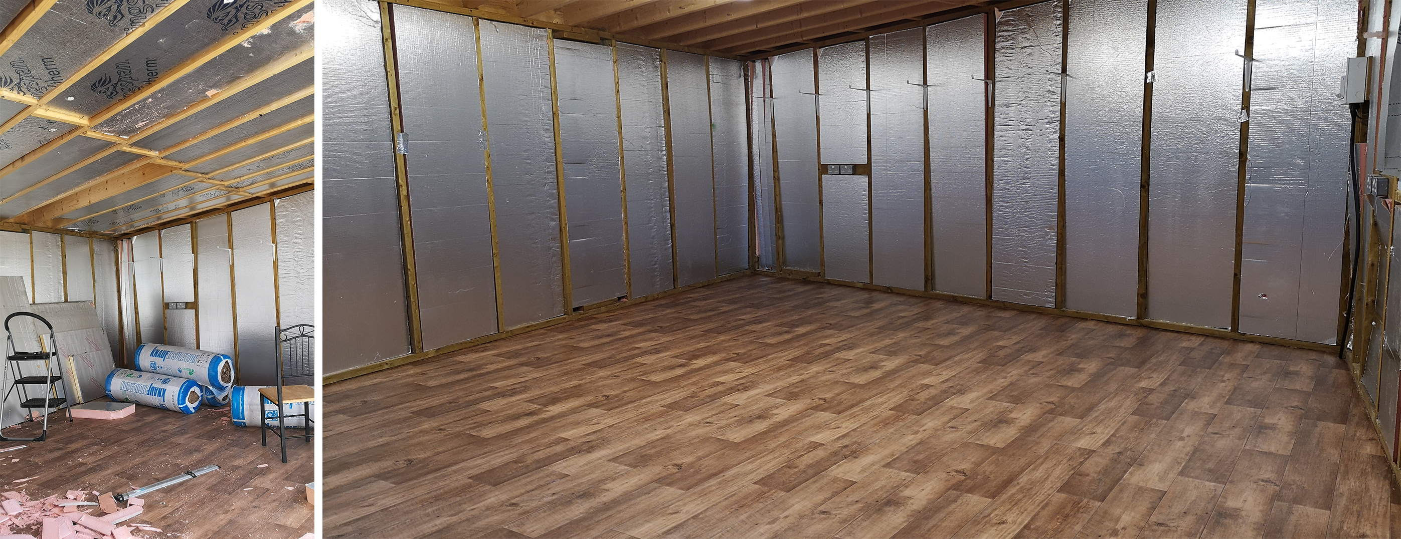 photos of my workshop with insulation between the beams, and the wood effect vinyl floor installed.