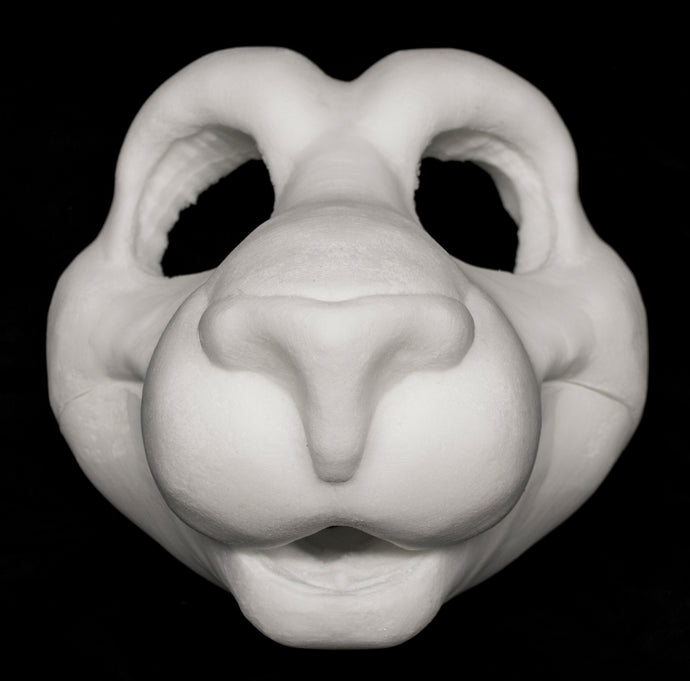 Feline soft foam head base for costumes, mascots and fursuits.