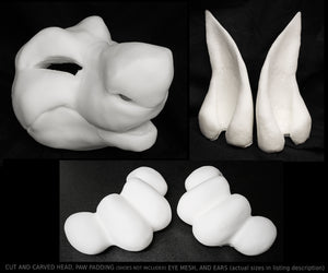 Manokit bundle deal: cut and carved head base, eye mesh, Ears and Feet padding, for costumes mascots and fursuits.