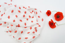 Load image into Gallery viewer, Poppy print organic muslin swaddle