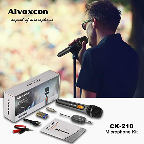 Wireless Microphone System, Alvoxcon UHF Dynamic Handheld mic for iPhone, Computer, Karaoke, Conference, DJ, Vocal Recording, Singing, Church, Wedding,On Stage,Live Event(1/4 inch Plug Mini Receiver)