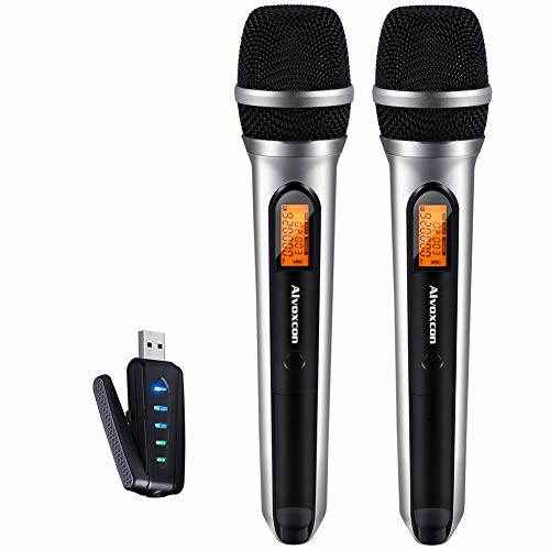 USB Wireless Microphone, Alvoxcon UHF Unidirectional mic for Smartphone, PC Computer, Laptop, PA, Podcasting, Vlogging, YouTube, Vocal Recording, Gaming, Singing Practice (System with USB Receiver)