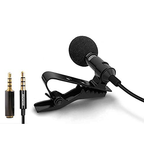 Lavalier Lapel Microphone Well Suited for iPhone, Android Smartphone, SLR Camera, iPad, Tablet, Computer PC, Hands Free