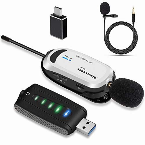 Wireless Lapel Microphone for Computer, Alvoxcon USB lavalier Mic System for Android, Laptop, Zoom, Podcasting, Vlog, YouTube, Vocal Recording