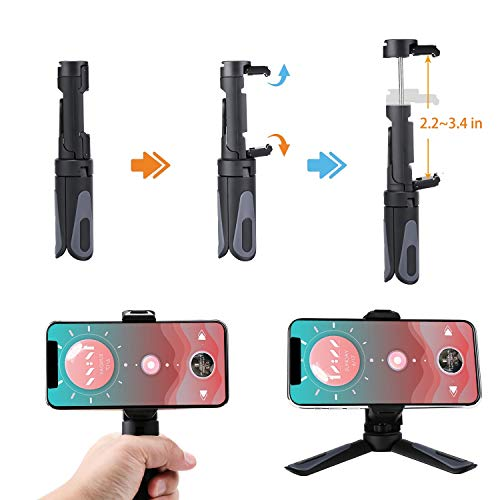 Phone Tripod Stand, Portable Desktop Holder with Cold Shoe Mount for Smartphones